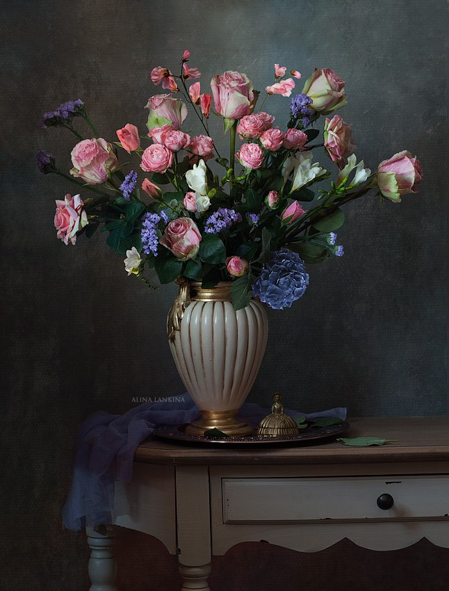 натюрморт, розы, цветы, ваза, алина ланкина, Алина Ланкина