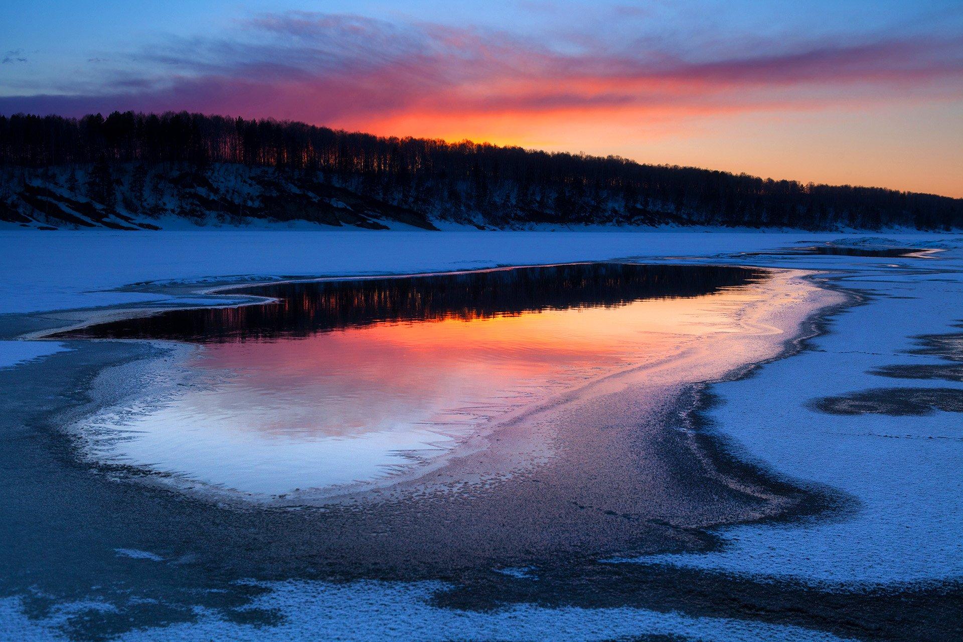 пейзаж, закат, река,весна., Андрей Васильченко