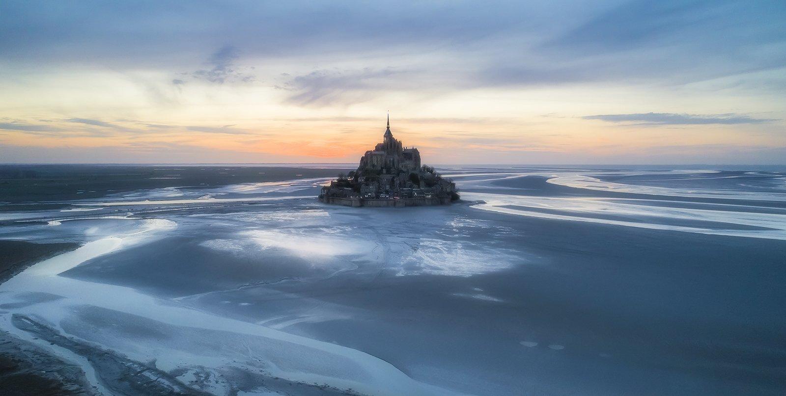mont saint michel, france, normandy, sunset, Андрей Чабров