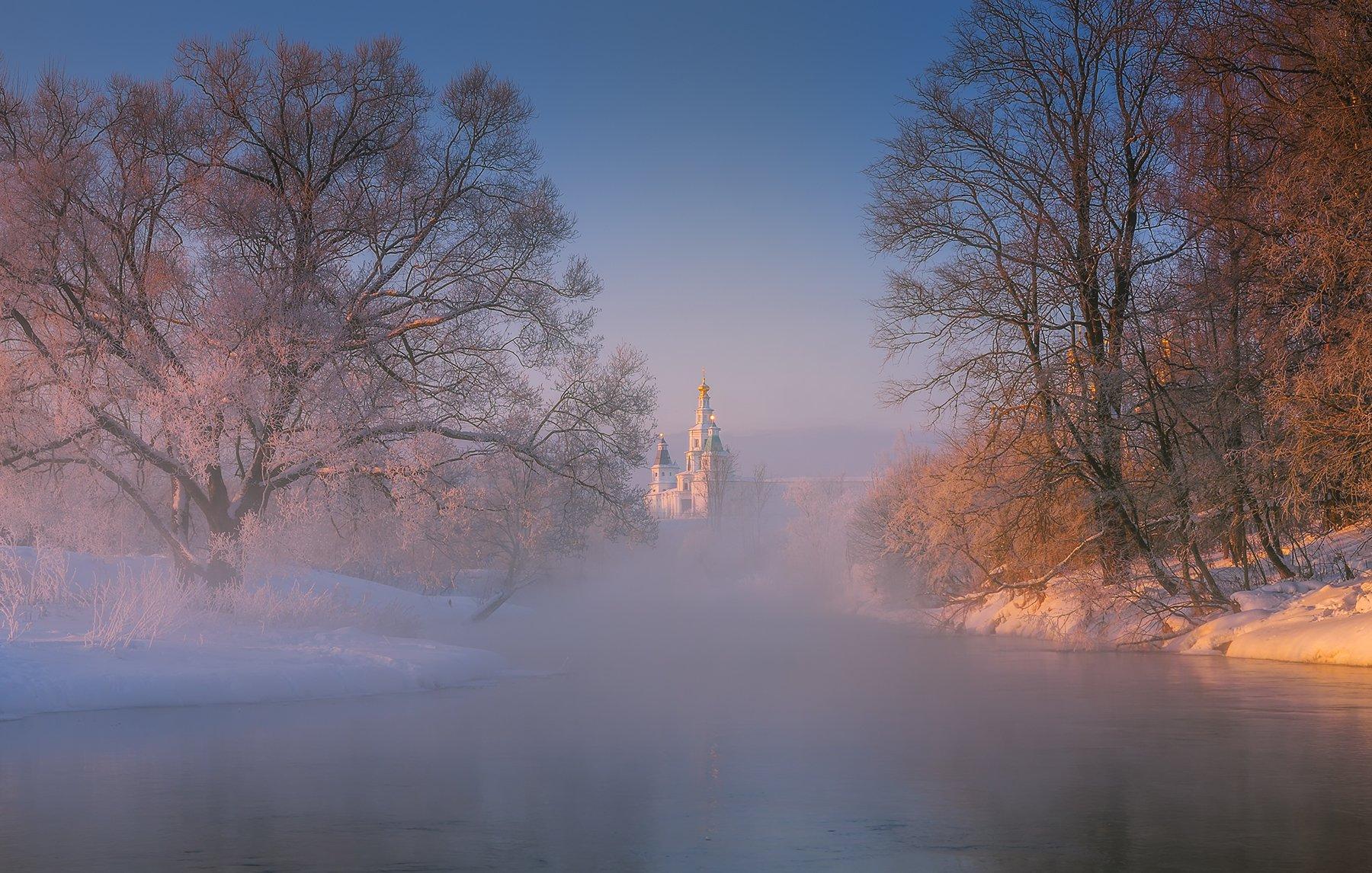 россия, монастырь, природа, утро, туман, иней, рассвет, река, пезаж, Виталий Левыкин