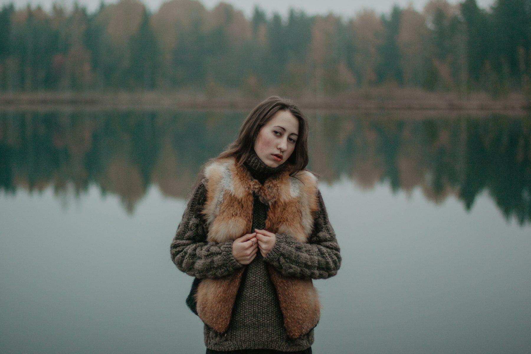 портрет, девушка, сумерки, гламур, атмосфера, лес, свет, озеро, осень, вечер, цвет, Олег Карсаков