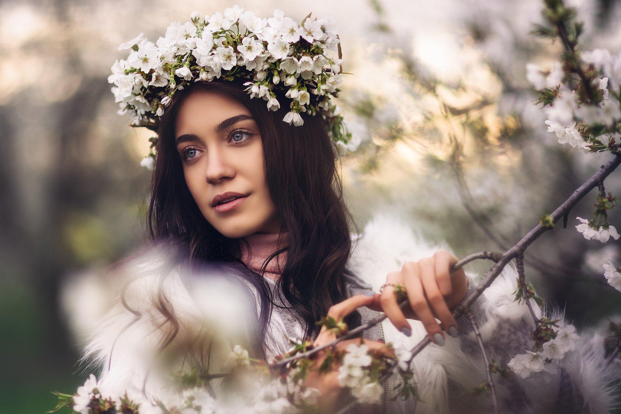 springtime, spring, beauty, girl, brunette, Чавдар Димитров