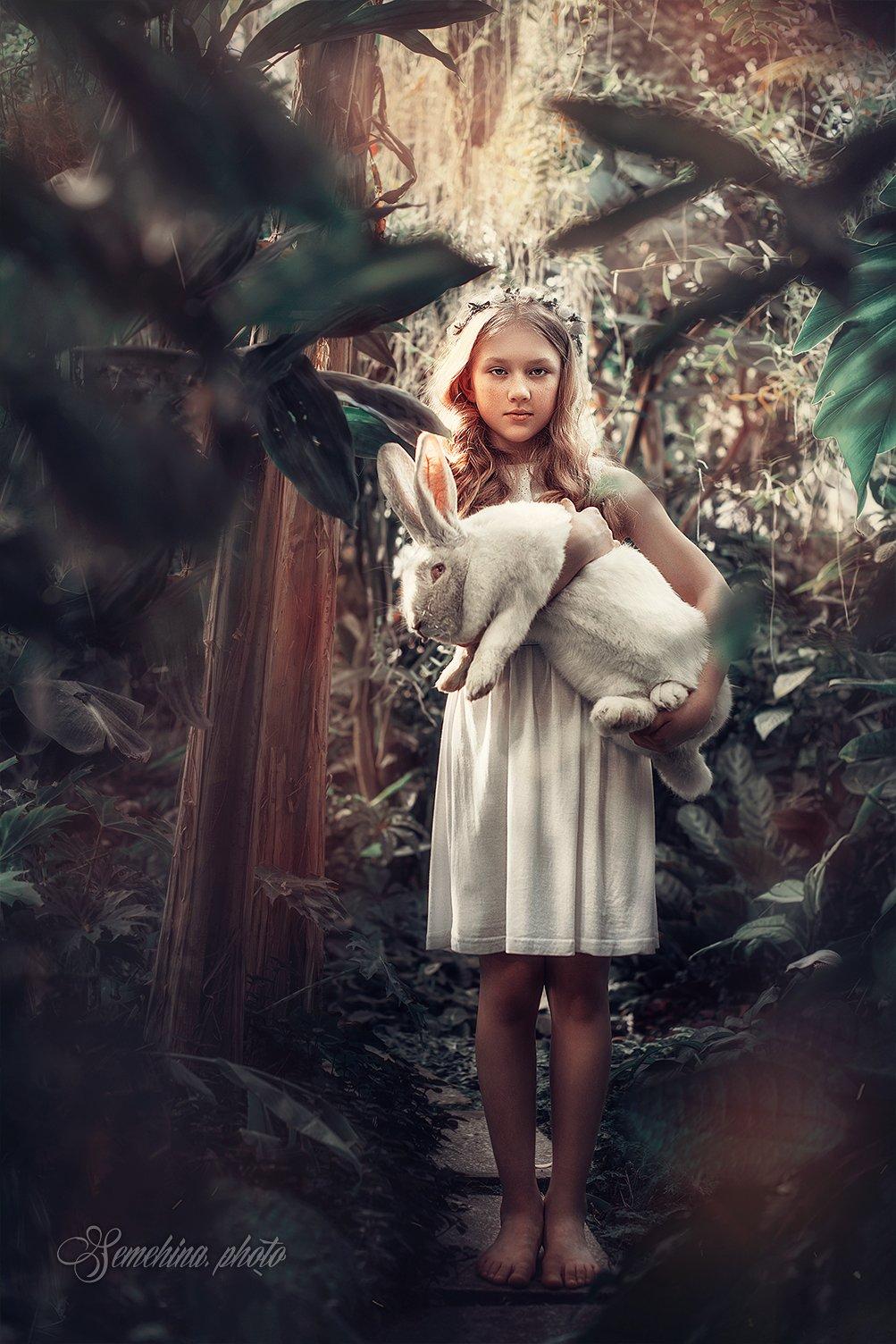 girl, rabbit, alice, wood, Марина Семёхина