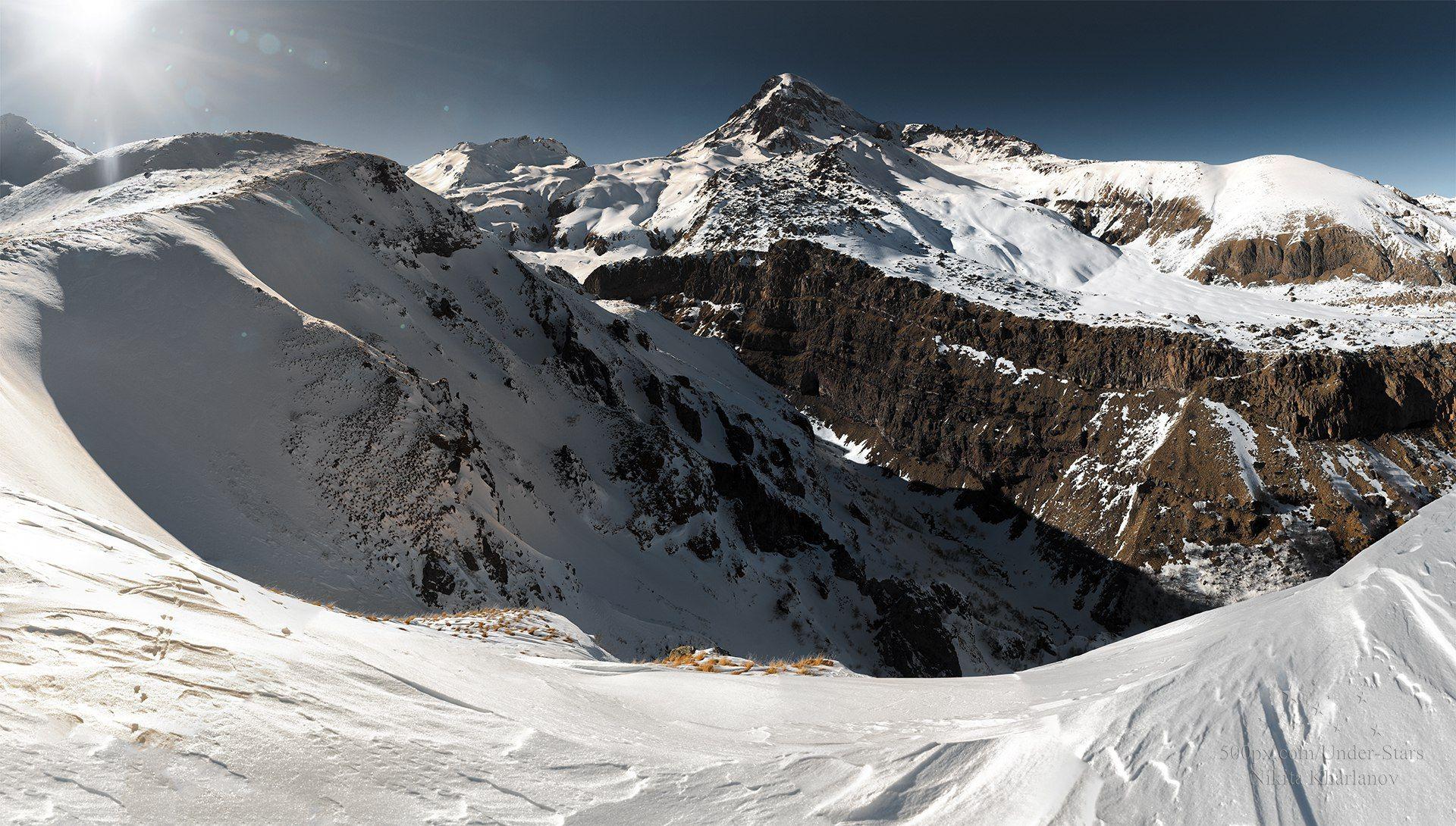 казбек, кавказ, грузия, горы, гора. зима, снег, Харланов Никита