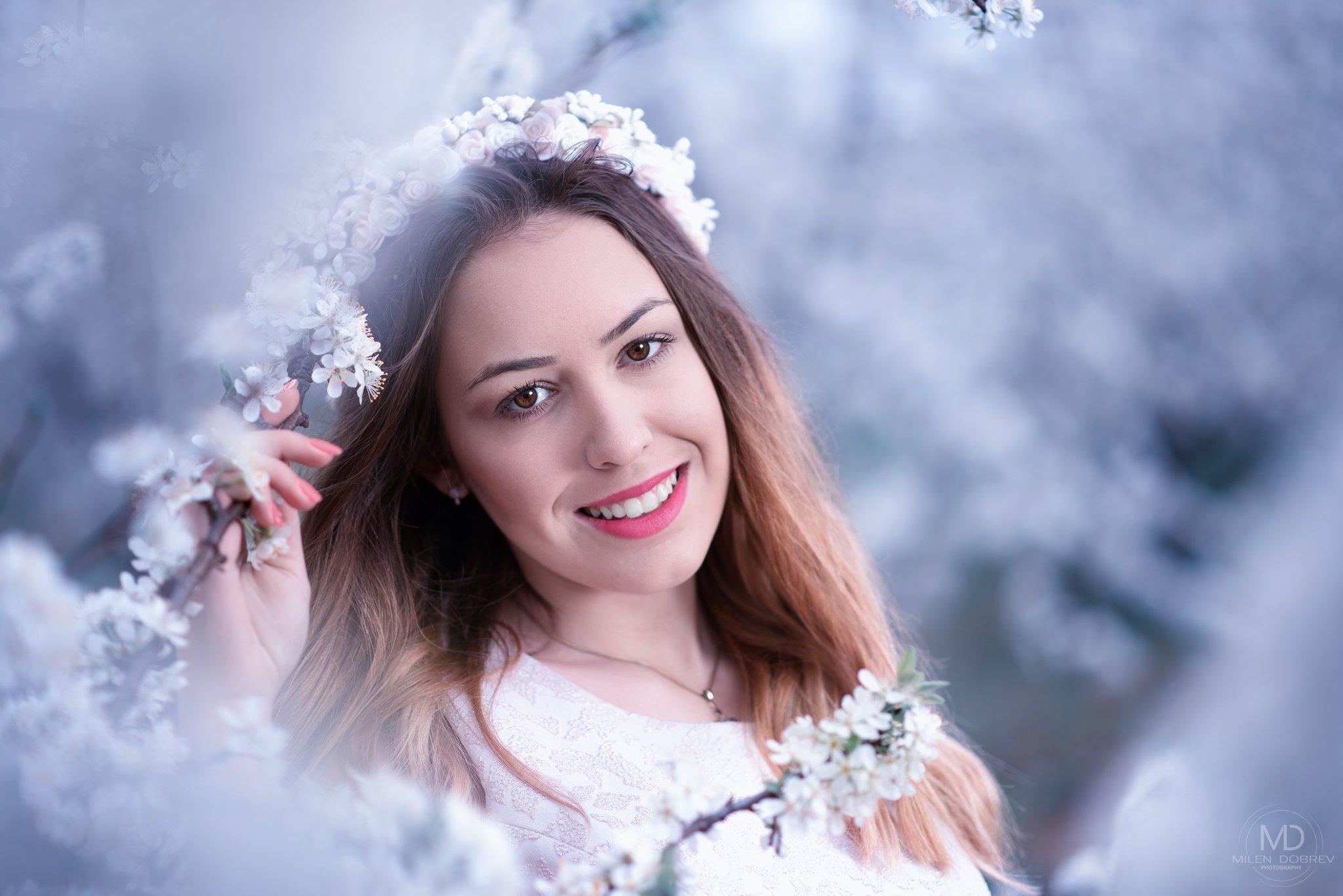 portrait, spring, blossom, beauty, girl,, Милен Добрев