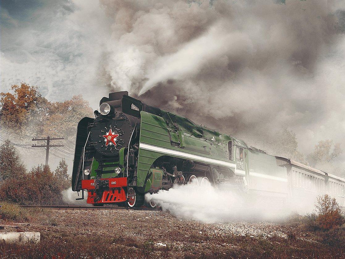 паровоз, серия, /п36, номер, 110, пассажирский поезд, осень, Boji