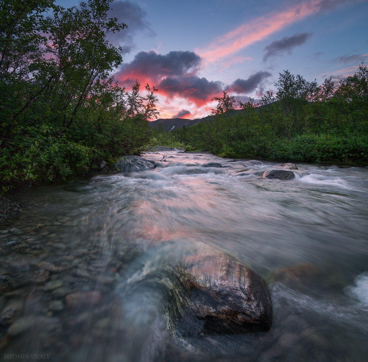 пейзаж,вода,цвет,россия,хибины,река,перспектива,лес,горы,панорама, Истомин Виталий