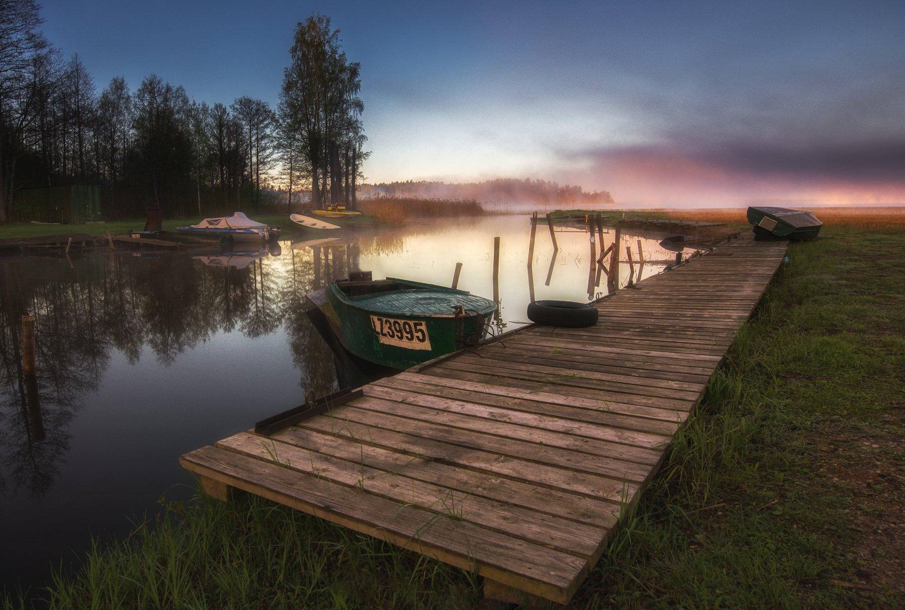 lake,sunrise,lighy,fog,boats,colours,озеро,рассвет,весна,пейзаж, Olegs Bucis