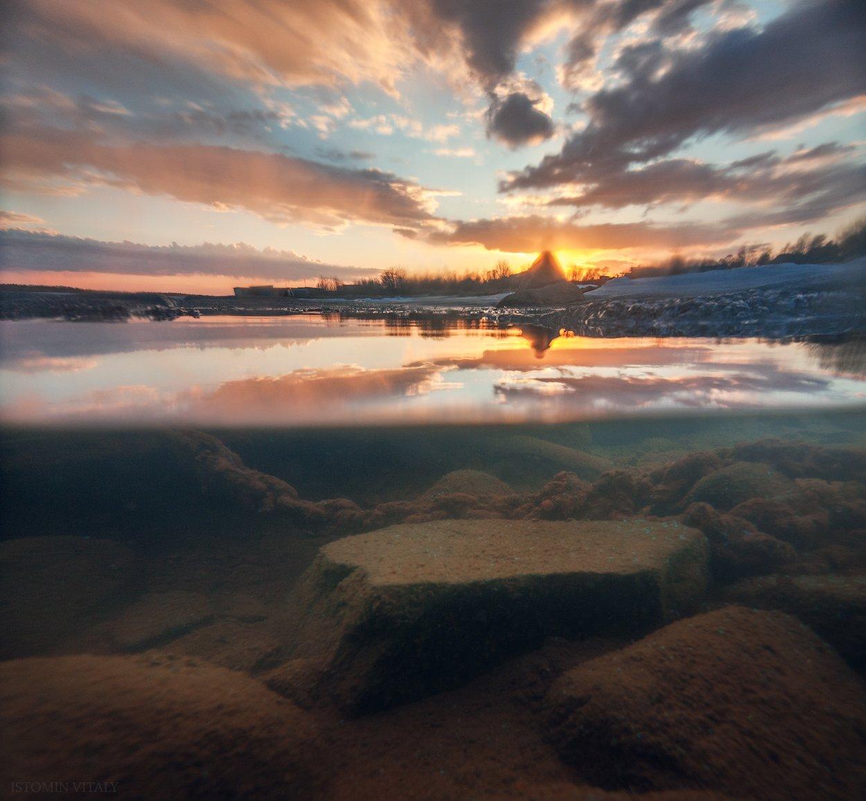 пейзаж,закат,май,россия,свет,небо,отражение,вода,камни,имандра,кольский,север,хибины,озеро, Истомин Виталий