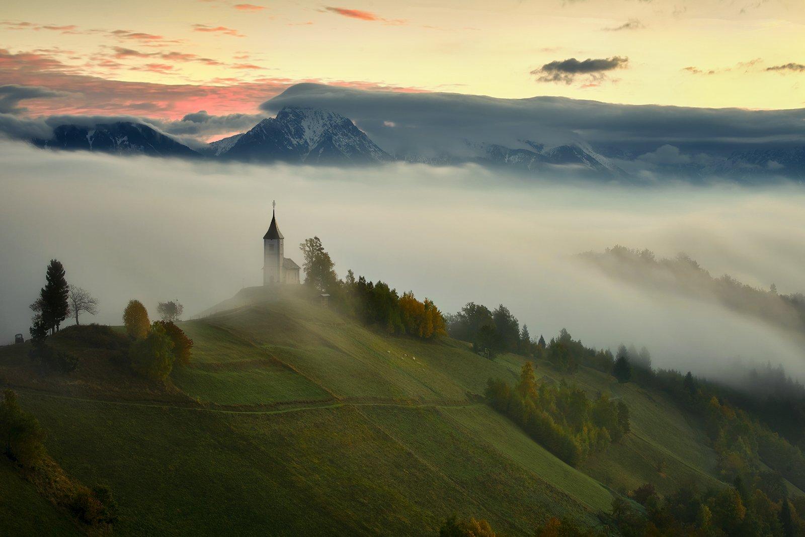 St. Primoz, church, Jamnik, dusk, alps, background, Slovenia, Jan Siemiński