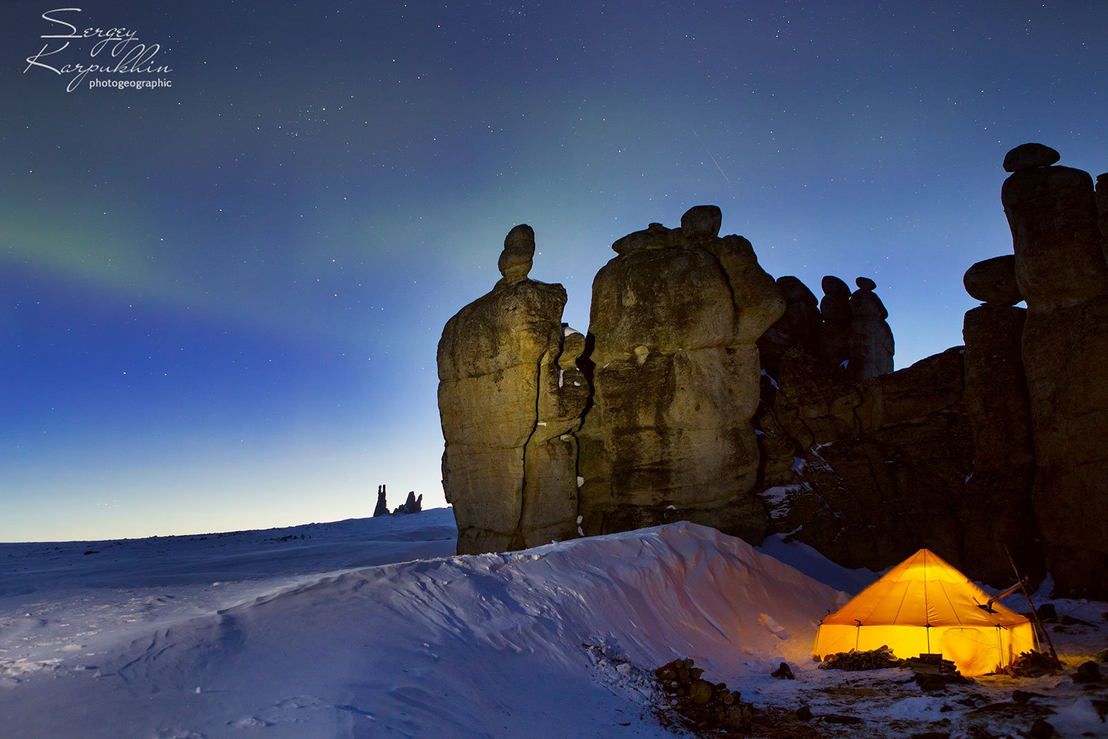 якутия, улахан-сис, северное сияние, зима, Сергей Карпухин