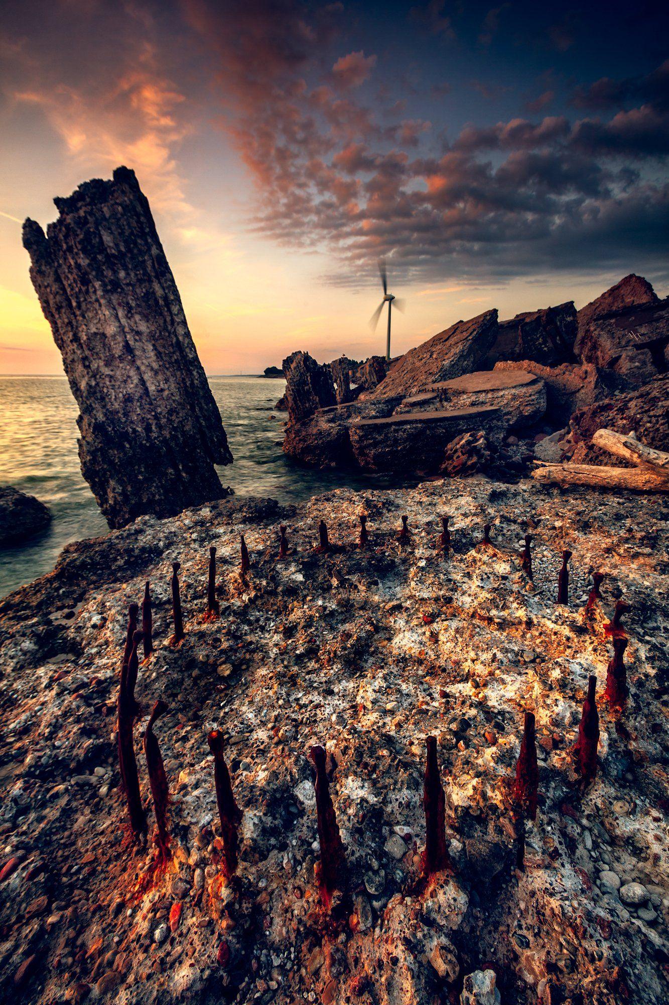 sunset, baltic sea, karosta, fortifications, Руслан Болгов (Axe)