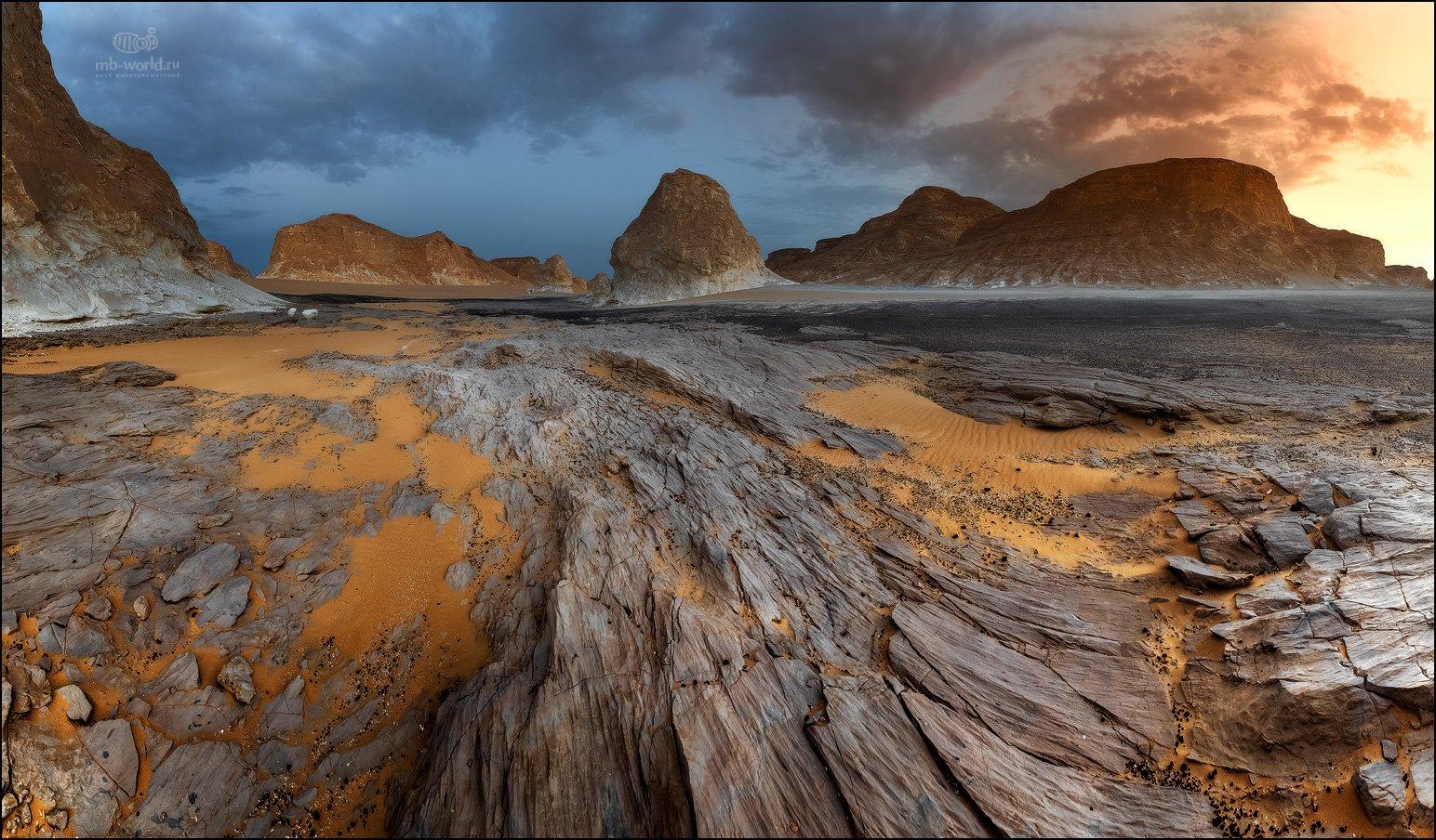 Египет, западная пустыня, белая пустыня, закат, пейзаж, Mikhail vorobyev