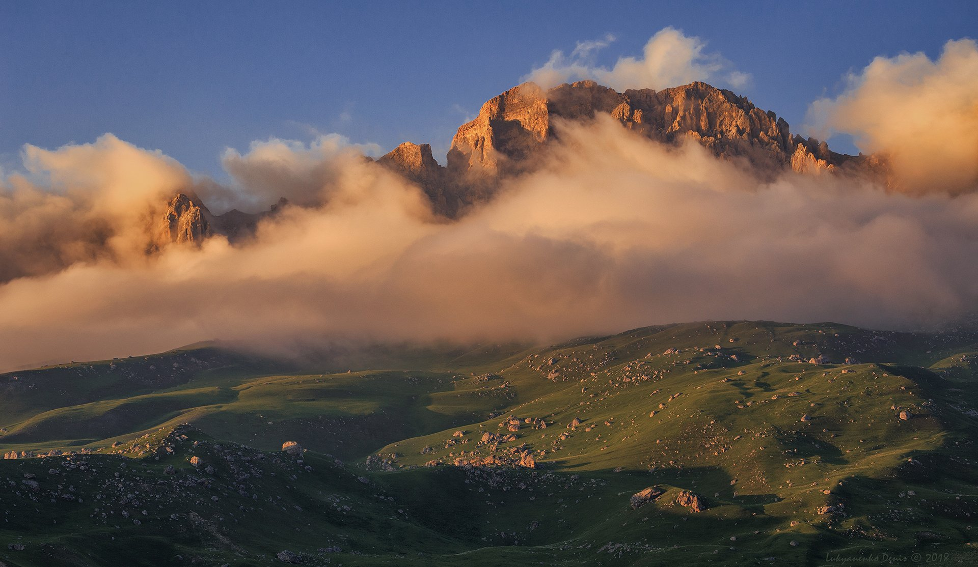 россия, кавказ, северная осетия, горы, облака, вечер, пейзаж, Лукьяненко Денис