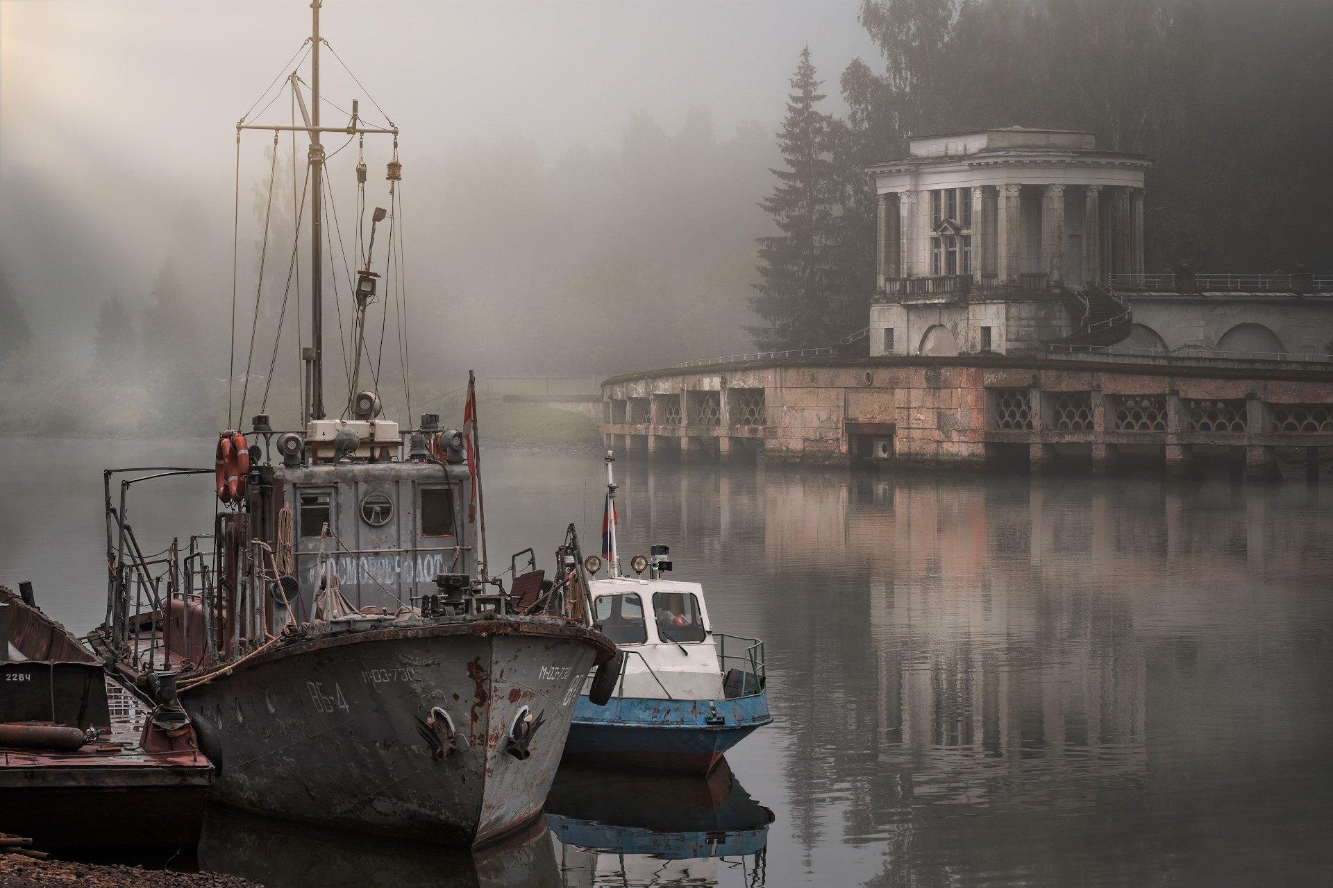 пейзаж, канал, дубна, ворота, катер, туман, утро, Андрей Чиж