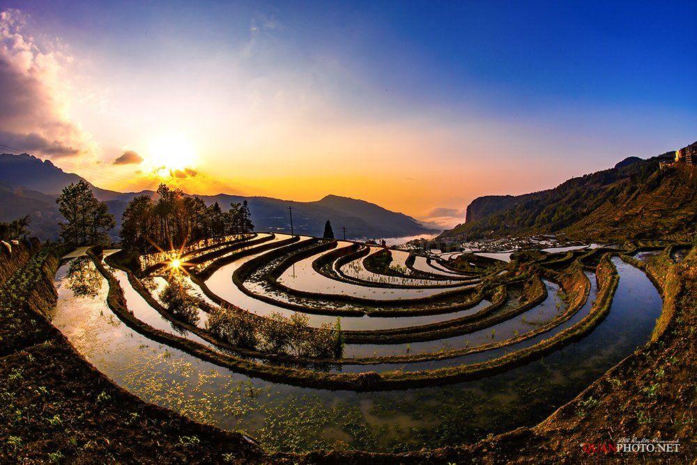 quanphoto, landscape, travel, sunrise, dawn, valley, mountains, terraces, farmland, agriculture, china, quanphoto
