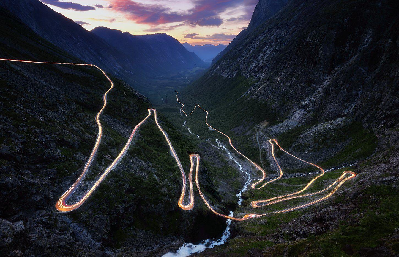 серпантин, норвегия, лестница троллей, trollstigen, лето, горы, Евгений Матюшенков