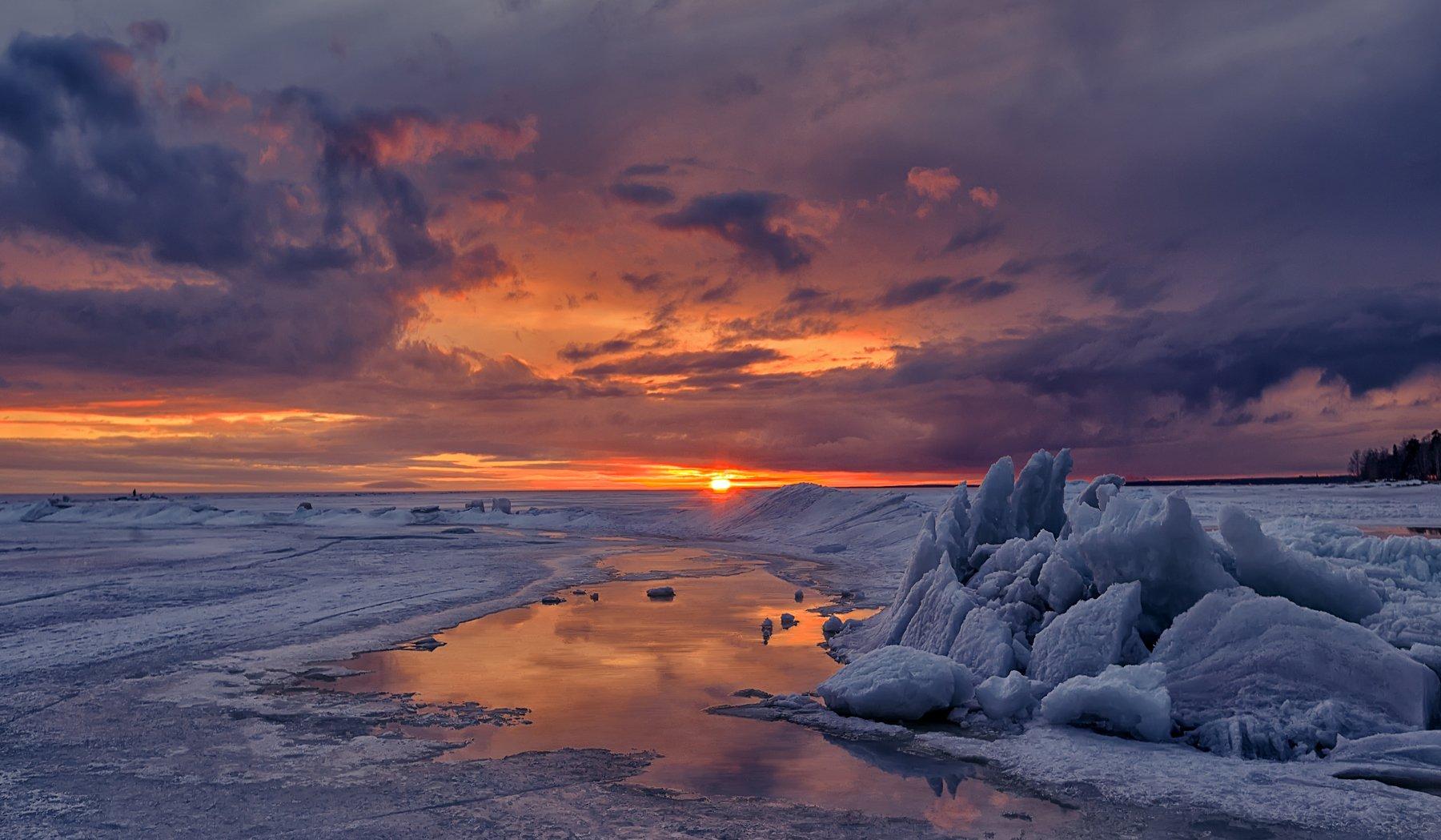 море,залив,закат,вечер,лёд,снег,отражения, Тамара