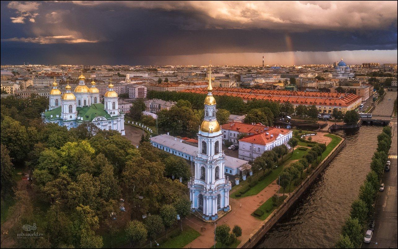 Питер, санкт-петербург, город, церковь, собор, радуга, закат, Mikhail Vorobyev