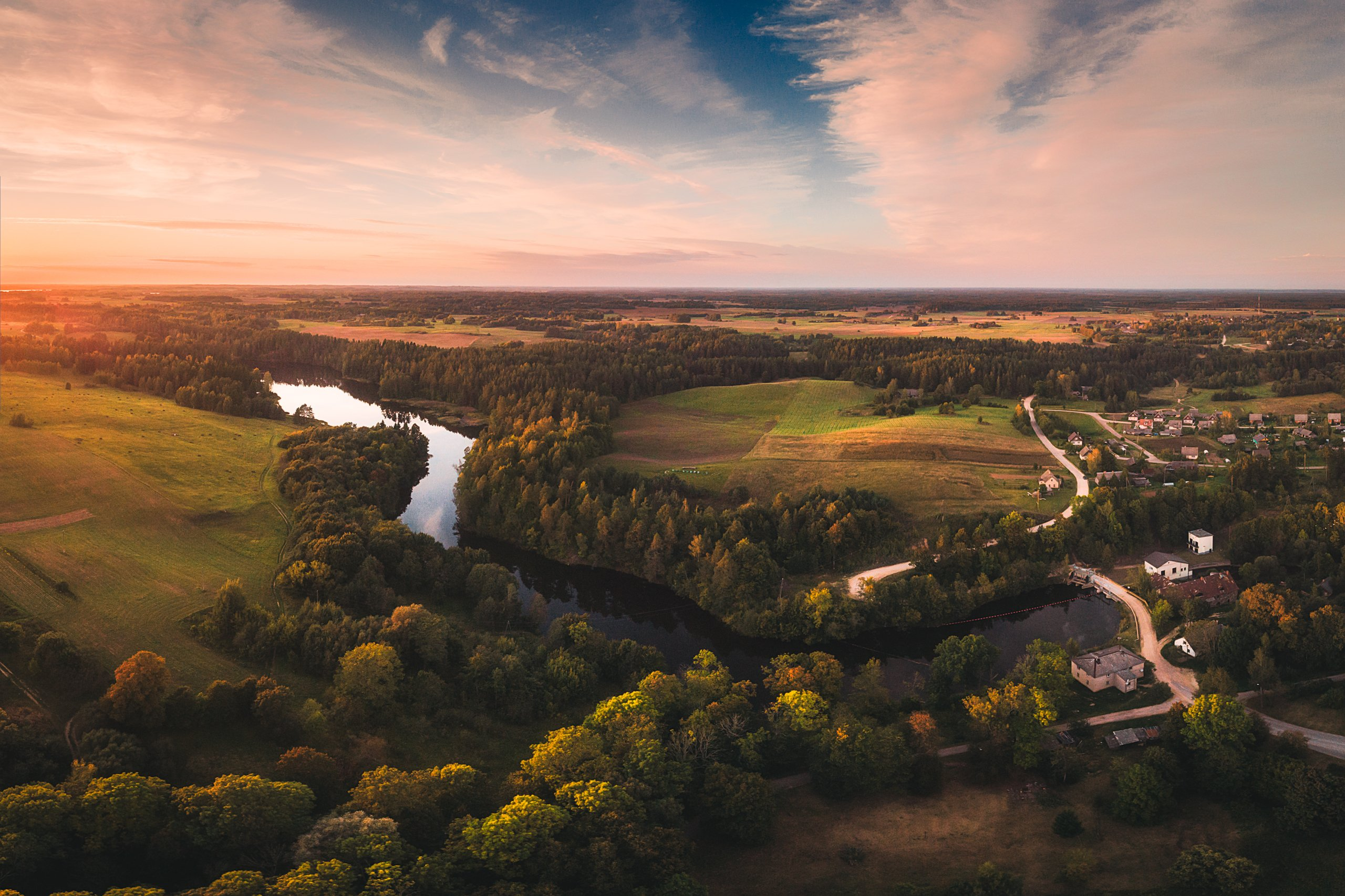 landscape,summer,drone,river,sunset,пейзаж,речка,латгалия,закат, Olegs Bucis