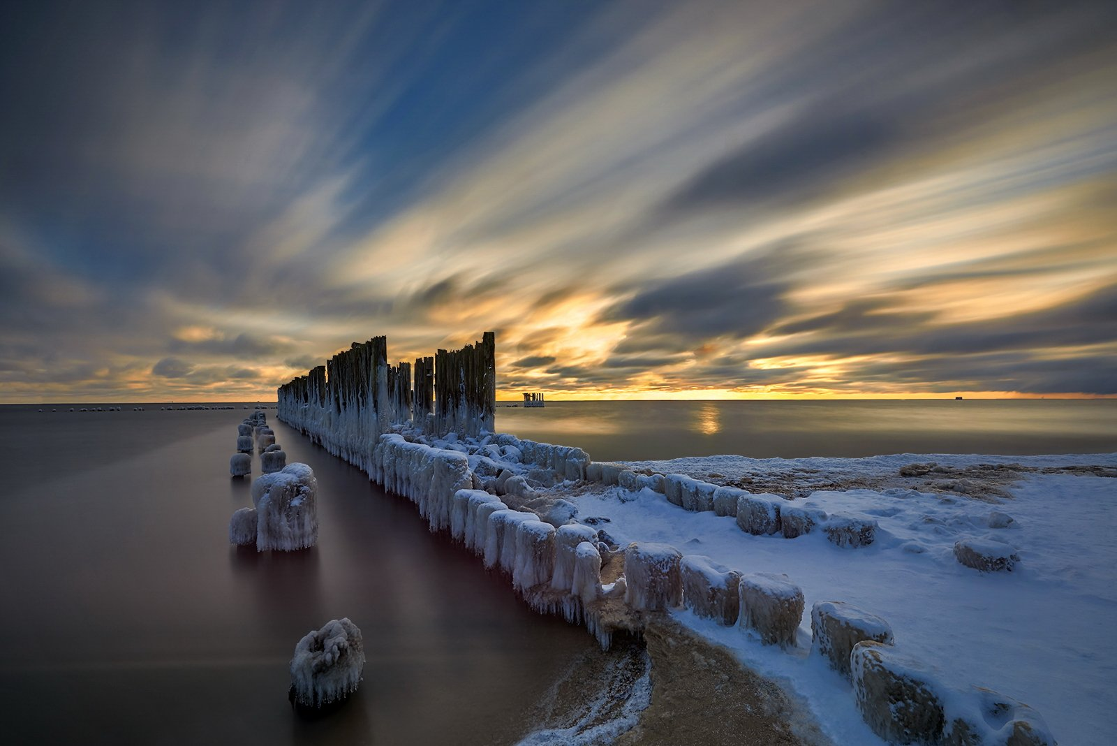 winter, landscape, Baltic Sea, Gdynia , Poland, Jan Siemiński