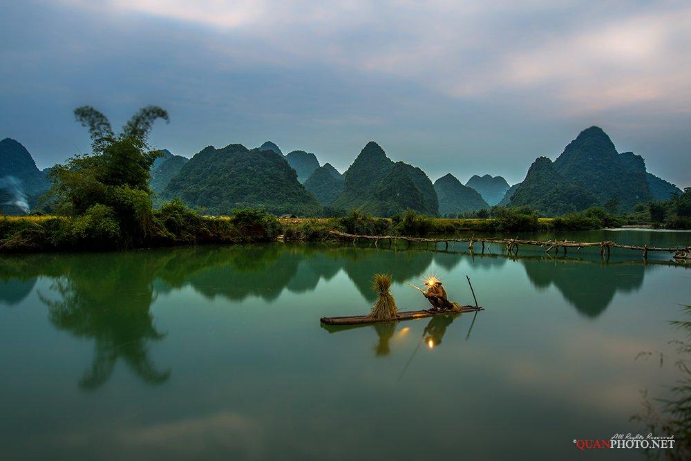 quanphoto, landscape, people, long_exposure, fisherman, fishing, mountains, reflections, river, blue_hour, rural, vietnam, quanphoto