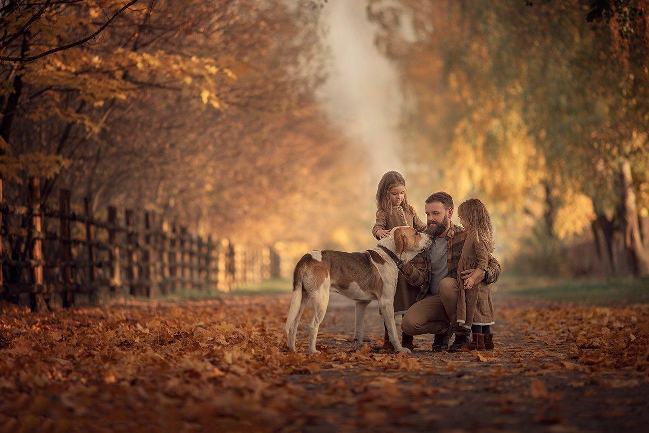 семья, дети, собака, осень, листва, Степанова Дарья