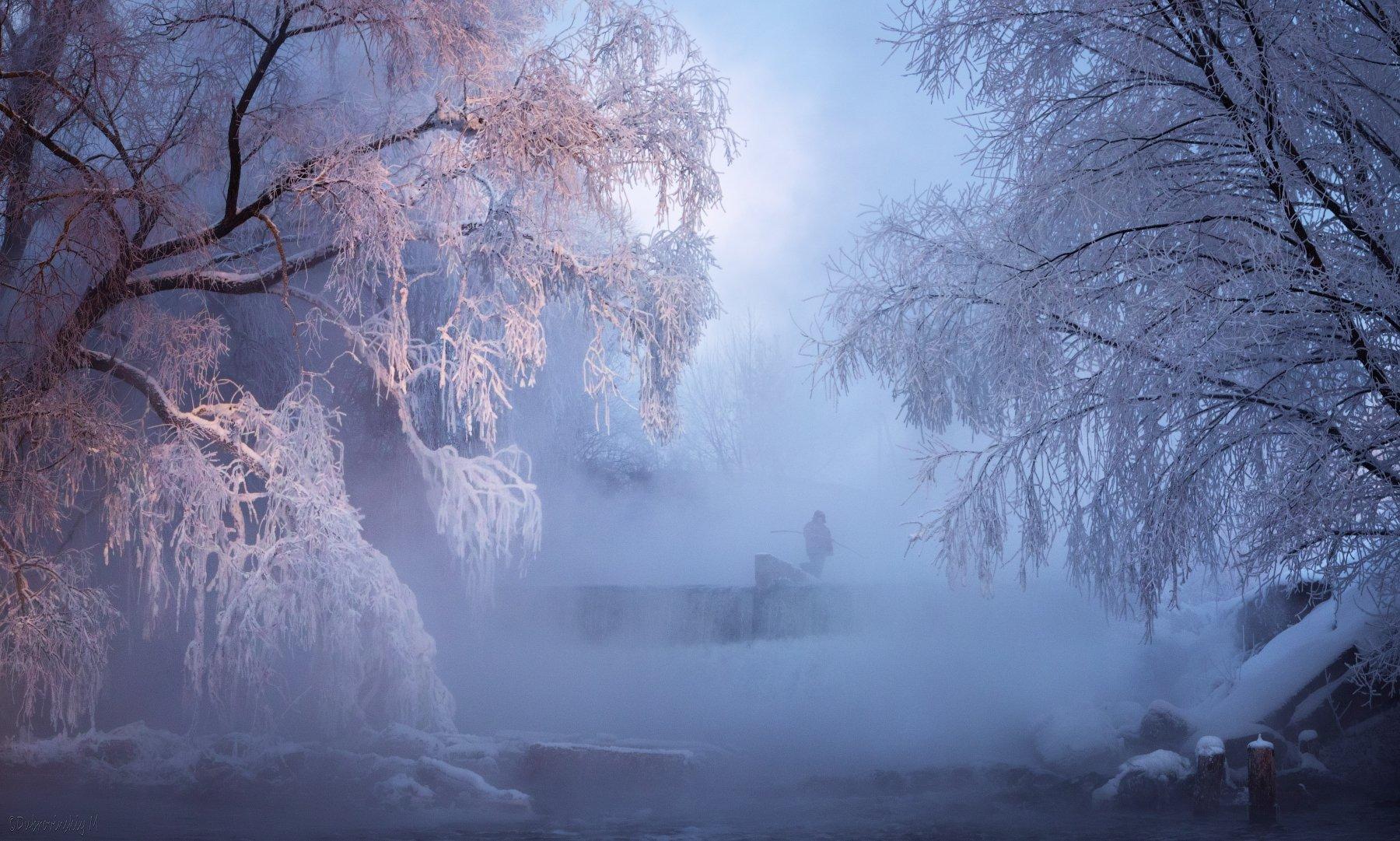 листвянка, река, рыбак, зима, мороз, туман, рязанская область, Михаил Дубровинский