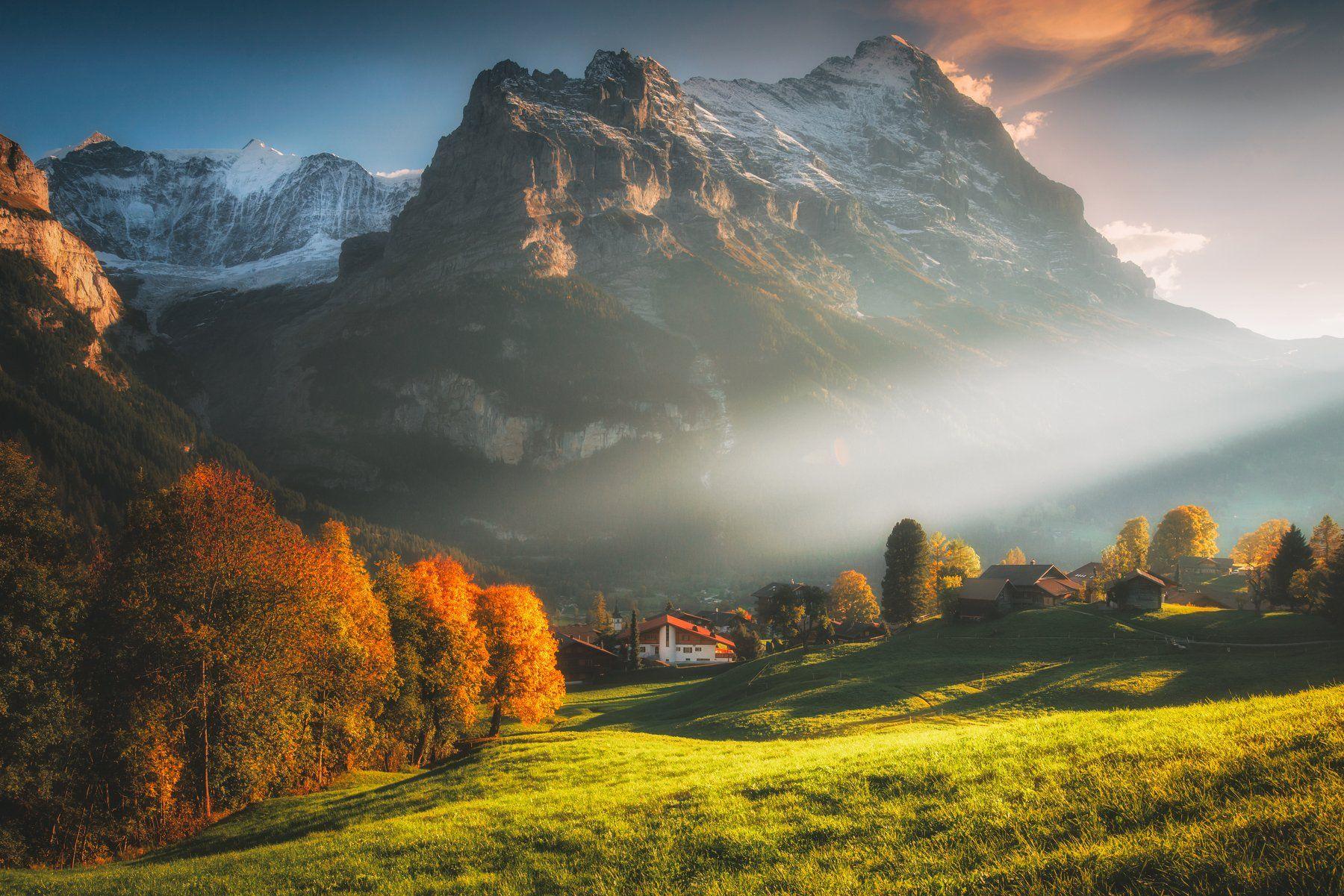 landsape,sunset,autumn,eiger, Olegs Bucis