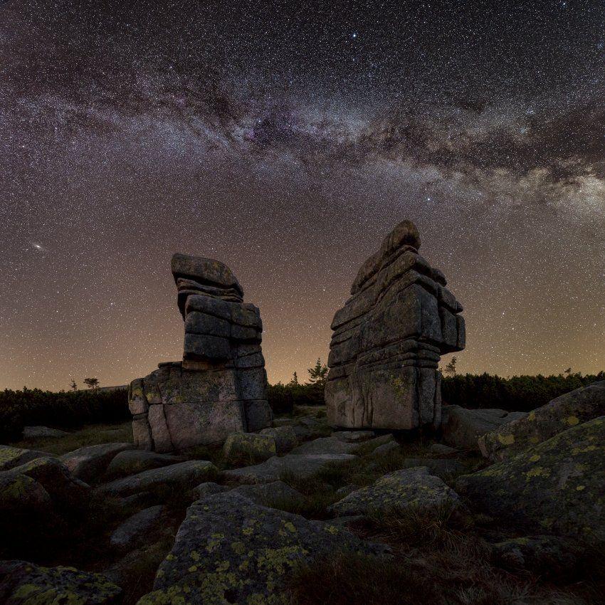 stars, milkyway, galaxy, moai, stars, Jakub Müller