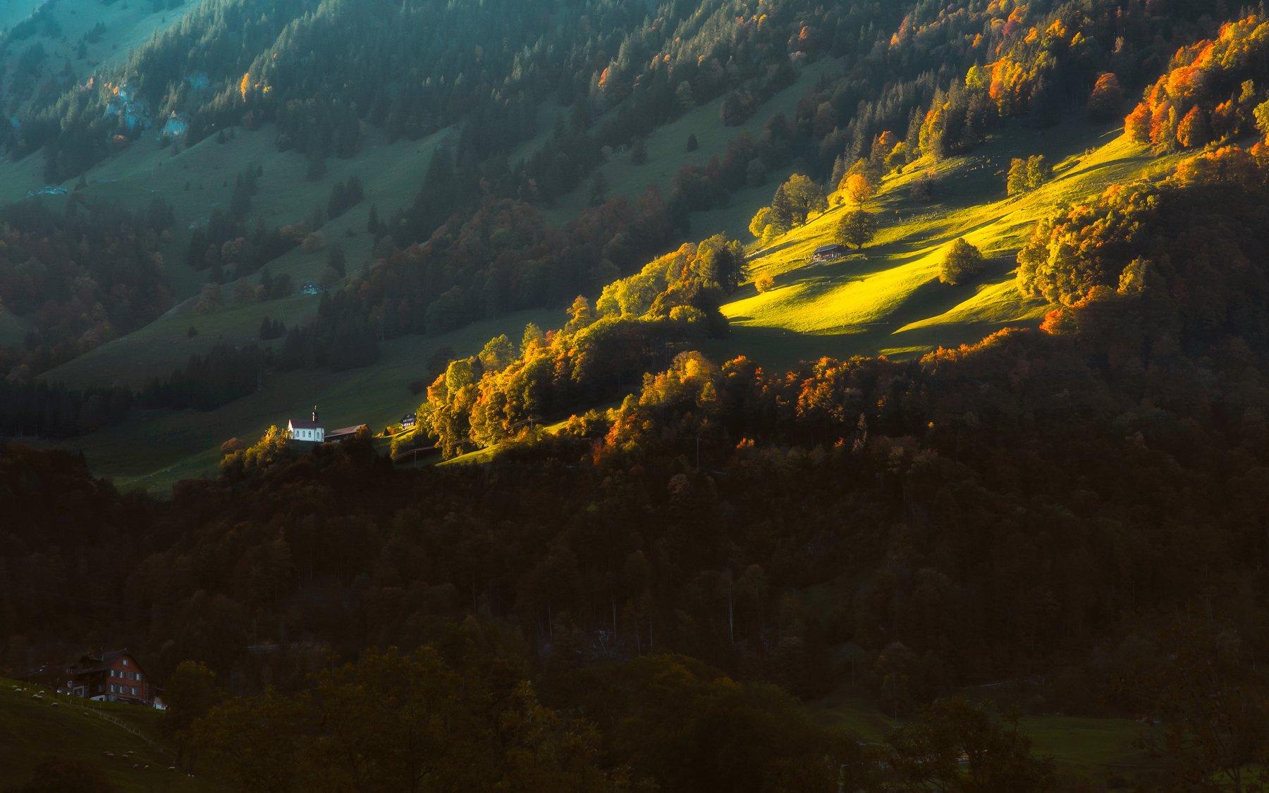 landscape,church,Церкав,sunlight,свет,пейзаж,swiss,autumn, Olegs Bucis