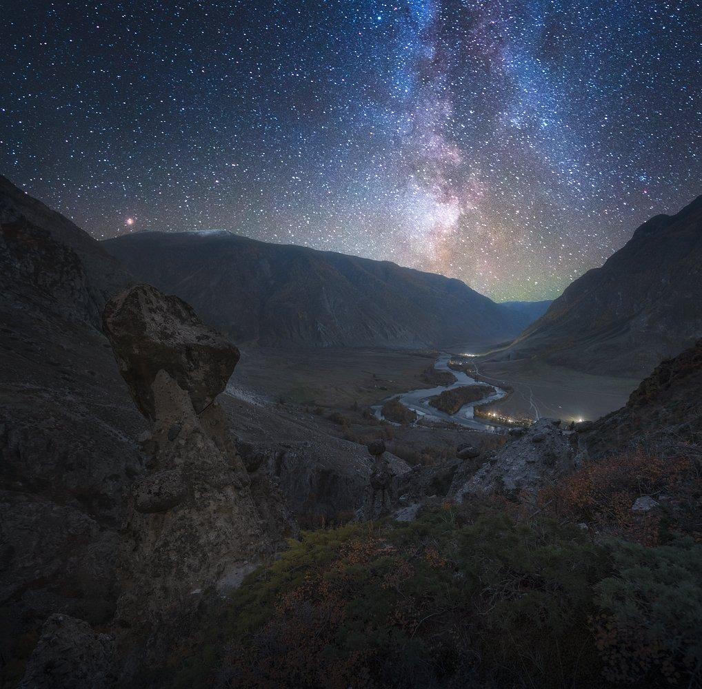 алтай, осень, чулышман, звёзды, ак-курум, каменные грибы, Александр Кукринов