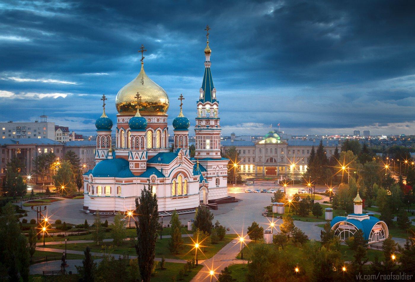 Омск, храм, церковь, крыша, закат, вечер, ночь, город, пейзаж, открытка, Голубев Алексей