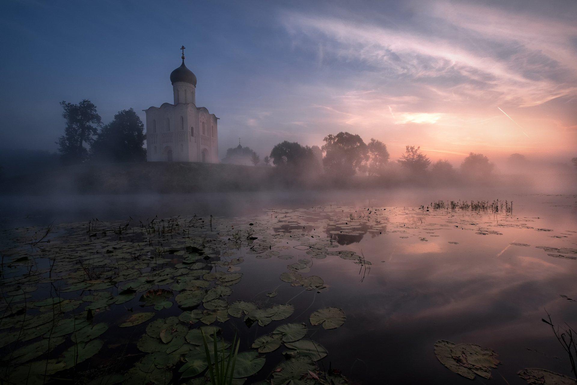 боголюбово, церковь, покрова, нерль, пруд, рассвет, отражения, туман, Андрей Чиж