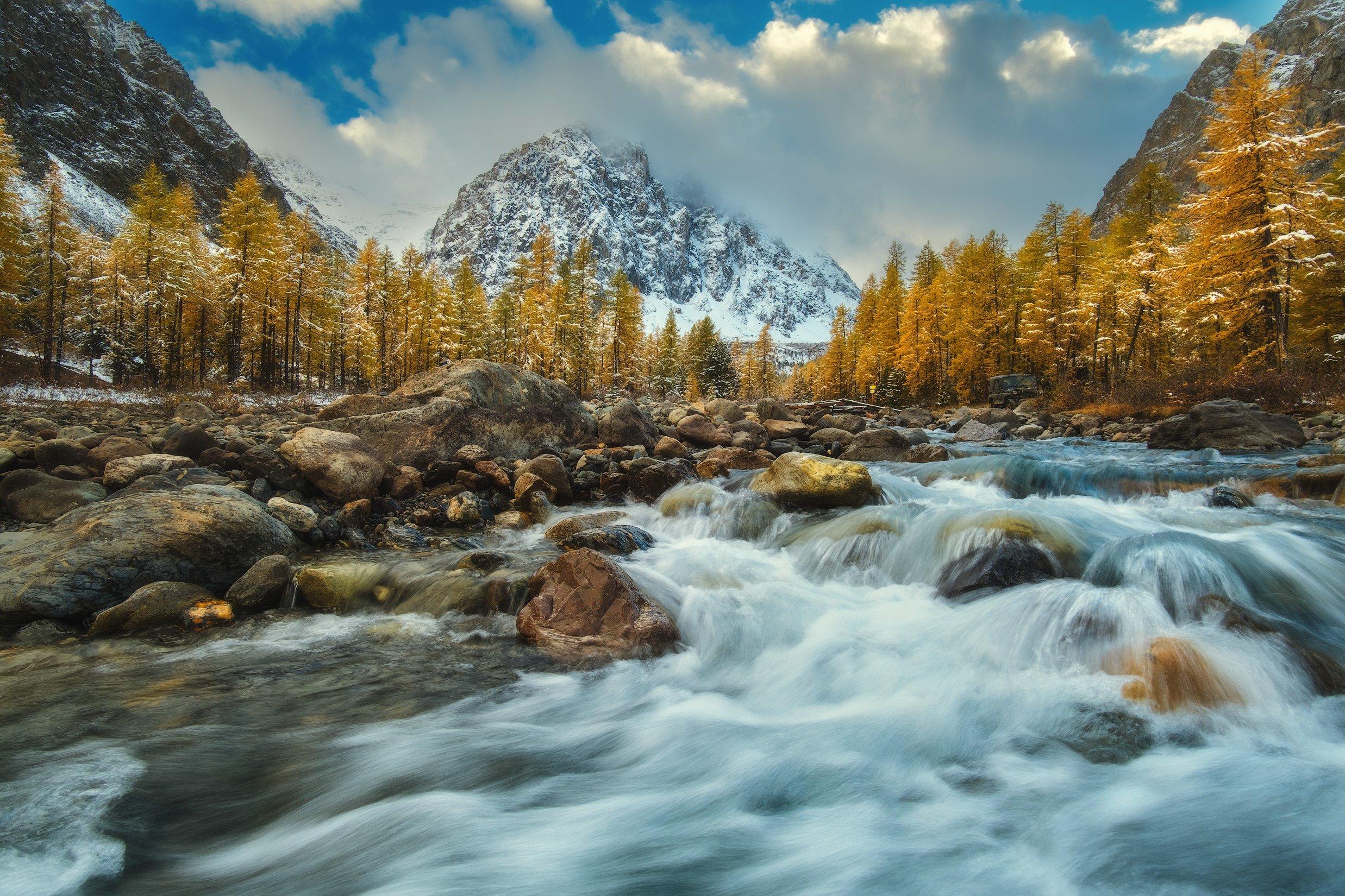 россия, алтай, республика алтай, горный алтай, природа, пейзаж, сибирь, горы, река, поток, снег, осень, актру, Оборотов Алексей