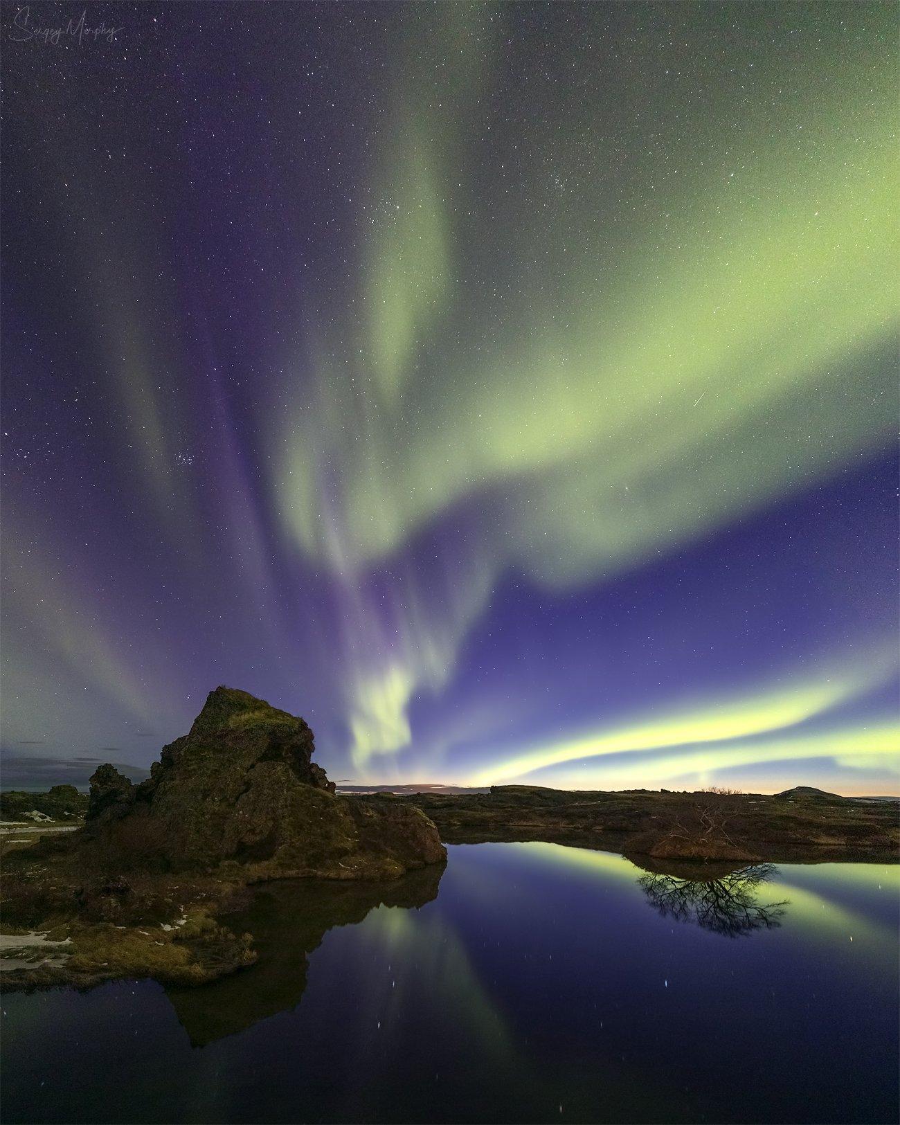 myvatn lake northern lights., Merphy Sergey