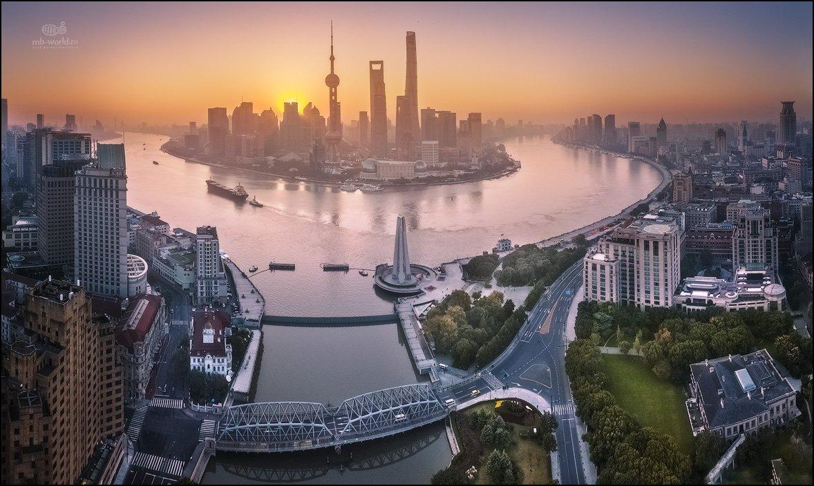 Китай, Шанхай, дрон, рассвет, dji, mavicpro, Mikhail Vorobyev