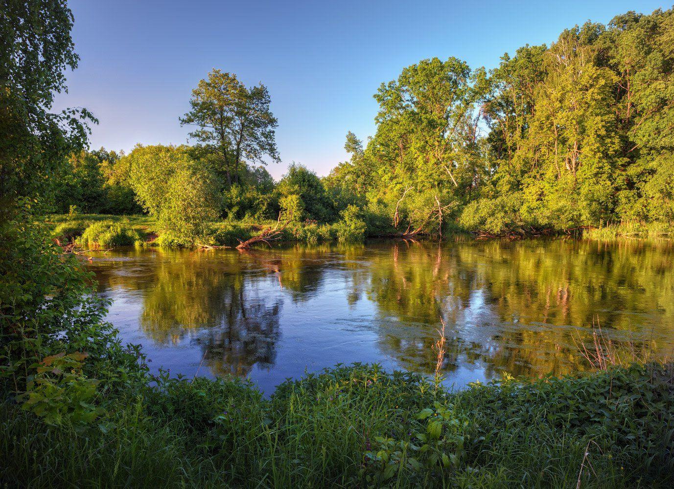 весна, река, вечер,, Сергей Шабуневич