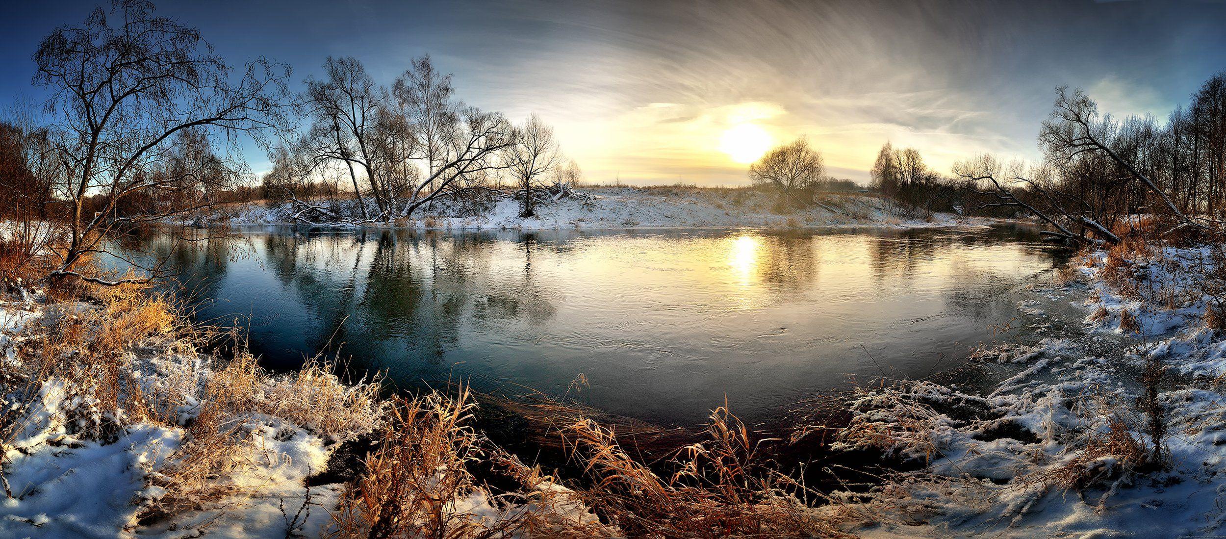 лес, природа, пейзаж, зима, река, вода, ручей, подмосковье, Ник Алексей