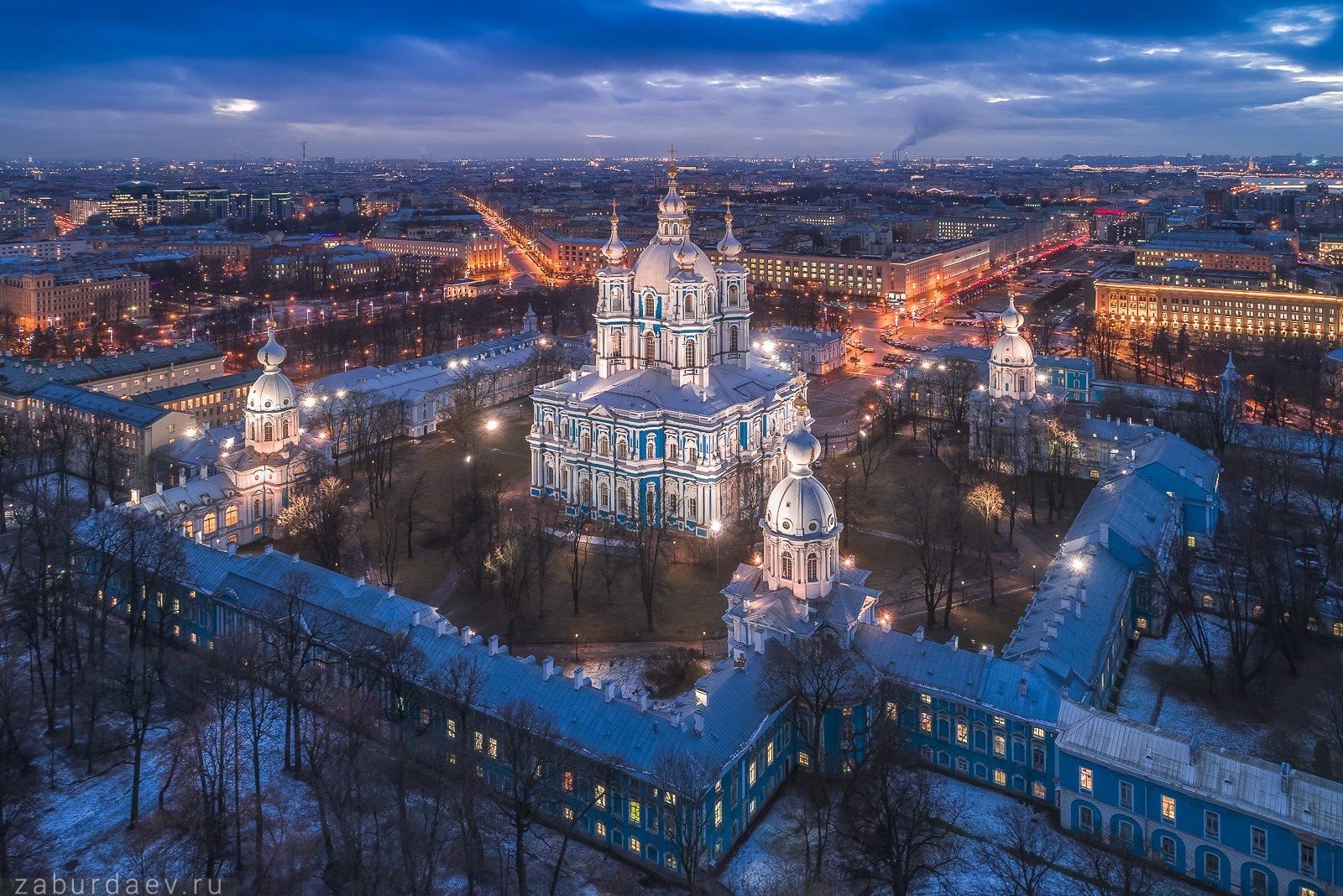россия, петербург, вечер, зима, собор, аэрофотосъемка, дрон, снег, Станислав Забурдаев