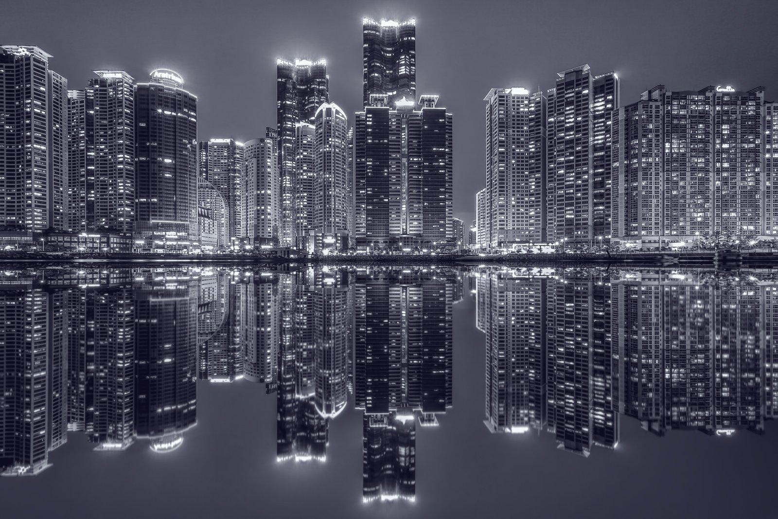 Busan Korea Building Reflection Night Water, Tiger Seo
