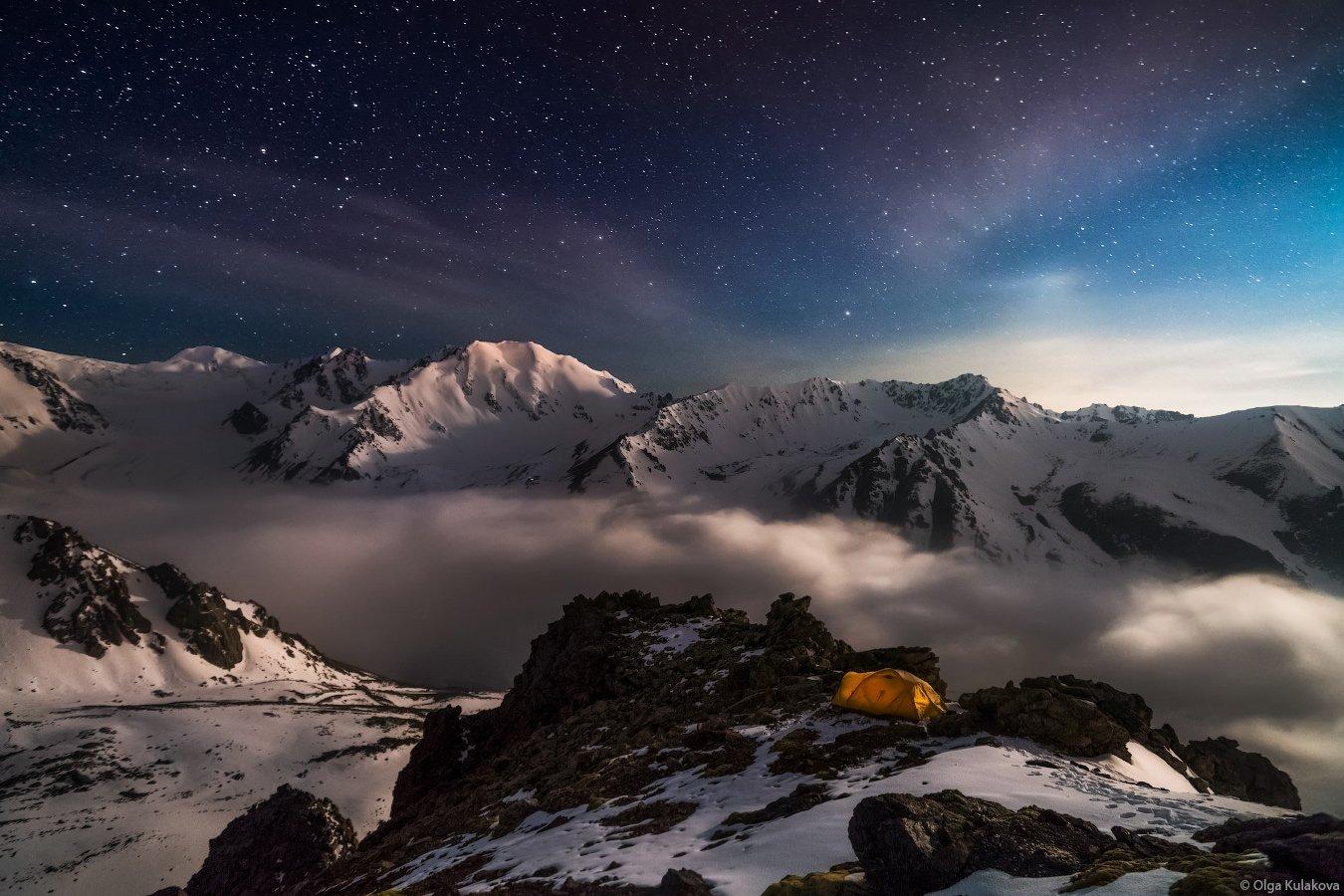горы, ночь, ночное небо, палатка, заилийский алатау, казахстан, Ольга Кулакова