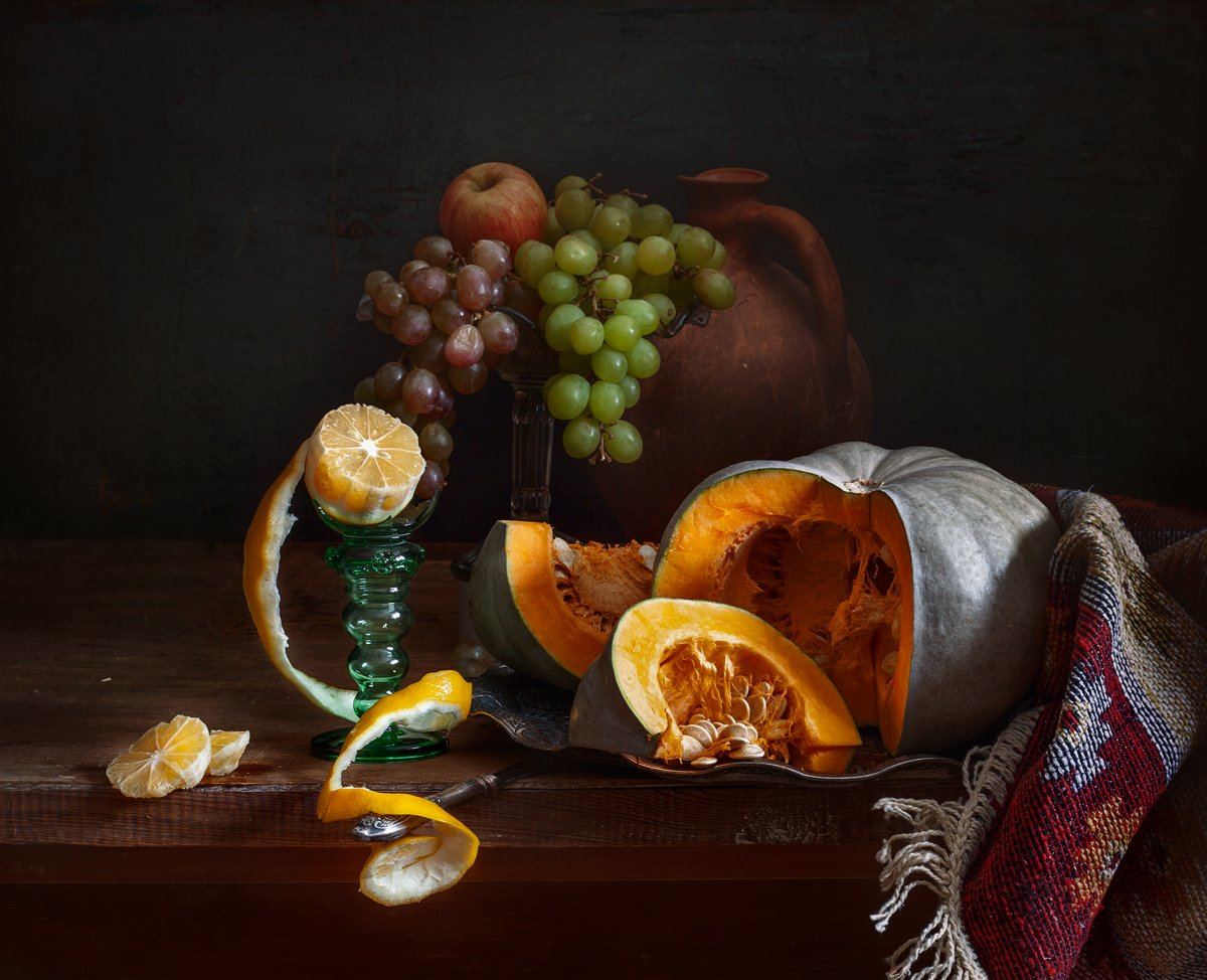 натюрморт, still life, тыква. виноград. лимон, арт, картина, евгений корниенко, Евгений Корниенко