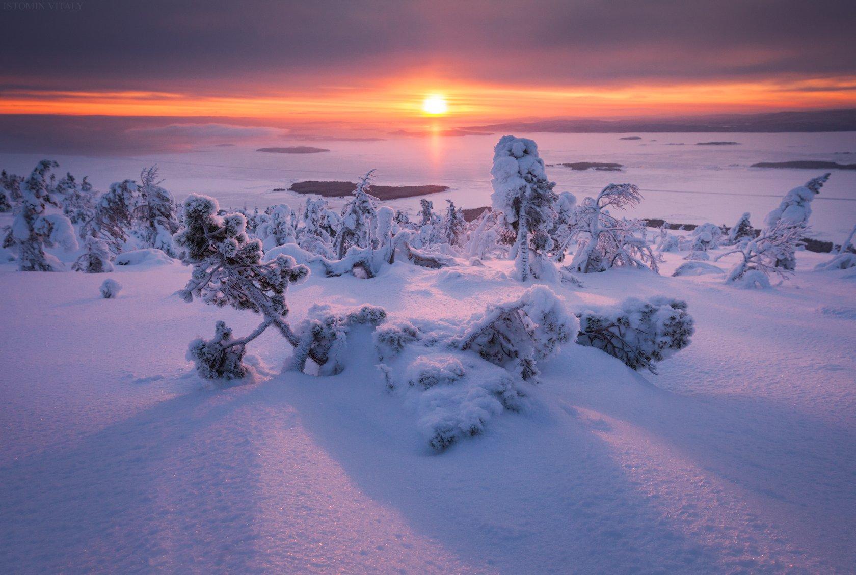 пейзаж,закат,россия,кандалакша,кольский,солнце,путешествие,горы,зима,снег, Истомин Виталий