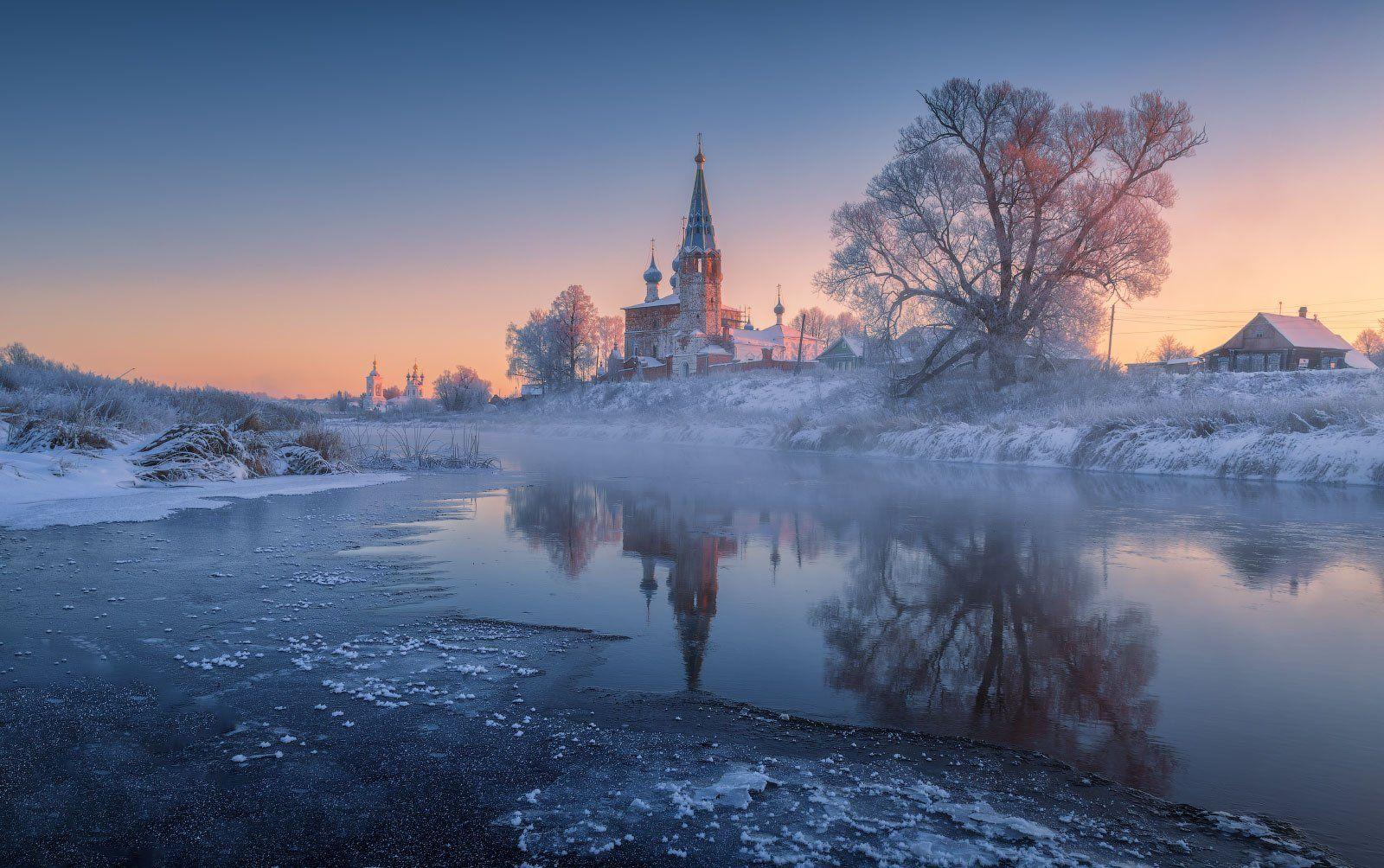 дунилово, село, ивановская область, река, теза, мороз, иней, отражения, храм, Дубровинский Михаил