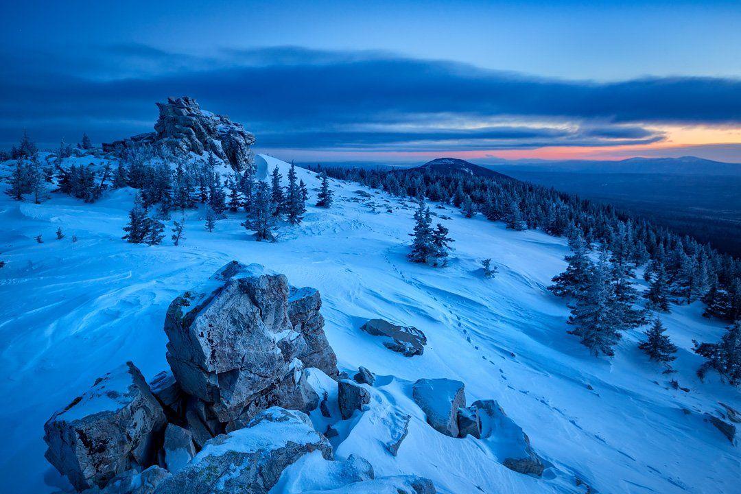 зюраткуль,урал,хребет,горы,рассвет,зима,снег, Аристов Станислав