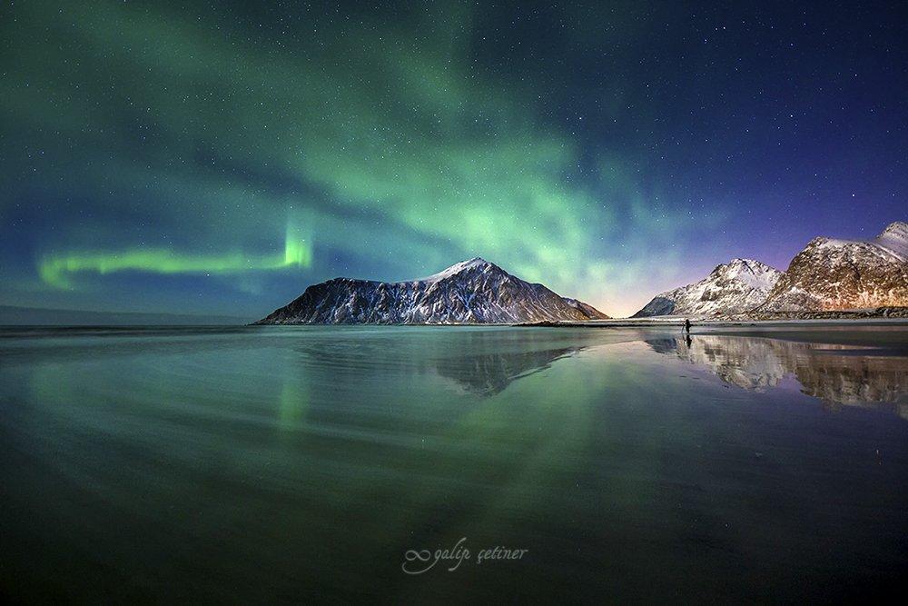 northern light, sea, beach, seascape, nightscape, landscape, nature, night,aurora borealis, aurora, Galip Çetiner