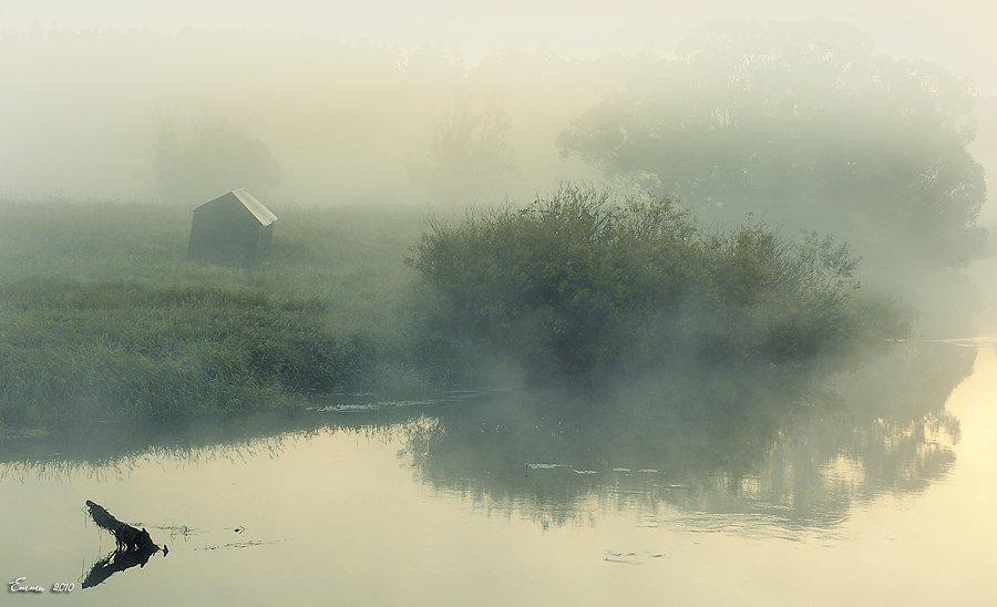 туман, утро, природа, река, етти