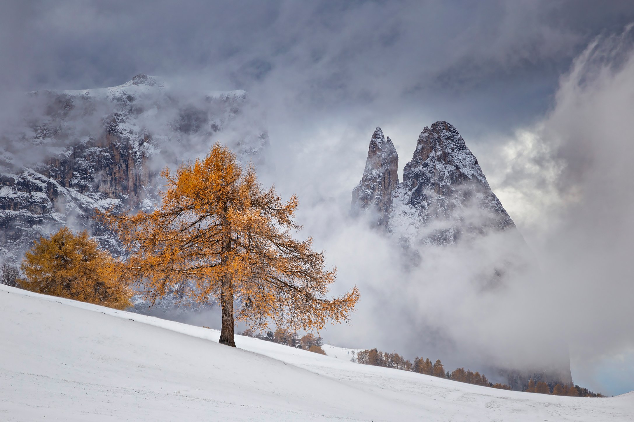 mountains, dolomites, italy, sunset, landscape, nature, travel, autumn, peak, clouds, trees, snow, Lazar Ioan Ovidiu