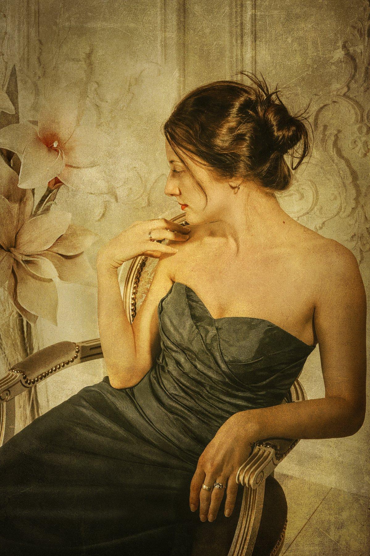 девушка портрет цветы старое фото гламур, Андрей Володин